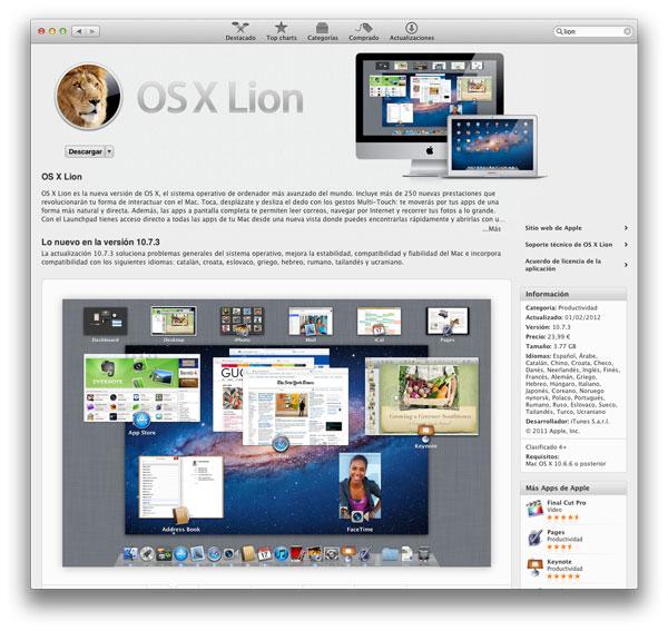 Lion está disponible en la Mac AppStore
