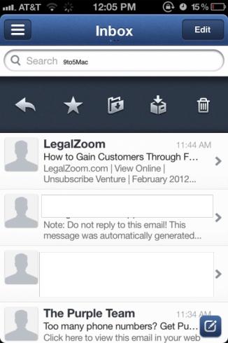 Inbox en Sparrow para iOS