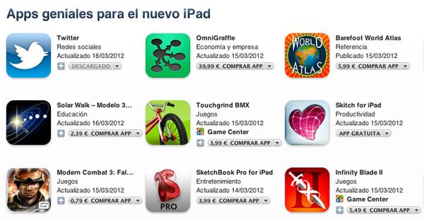 Aplicaciones para el nuevo iPad en la AppStore