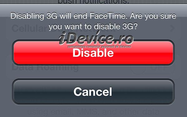 FaceTime aviso 3G