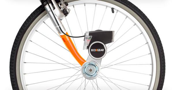 Ecoxpower en la rueda delante de una bicicleta