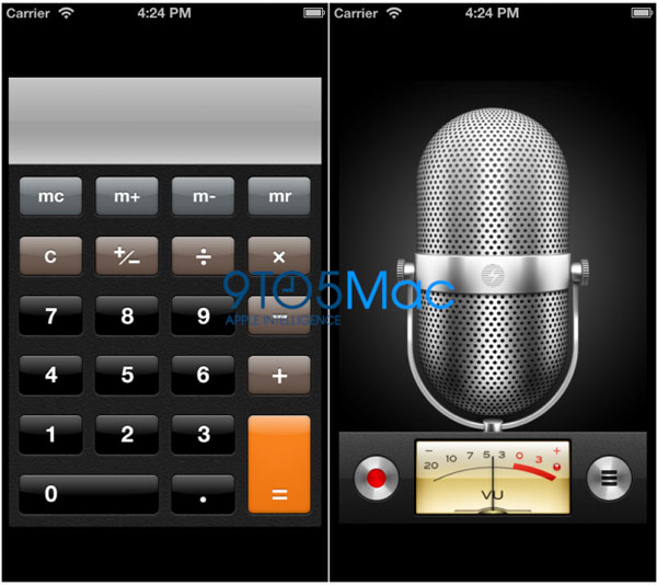 Posible interface del iPhone 5 - Calculadora y notas de voz