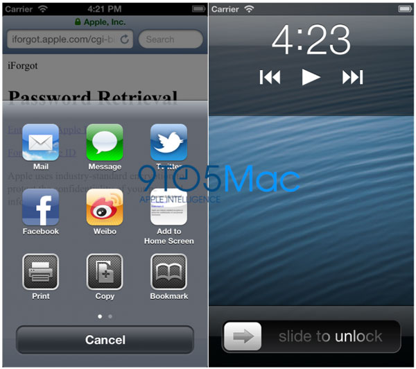 Posible interface del iPhone 5 - Compartir y bloqueo