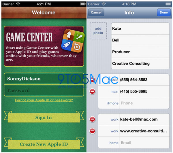 Posible interface del iPhone 5 - Gamecenter y Contactos