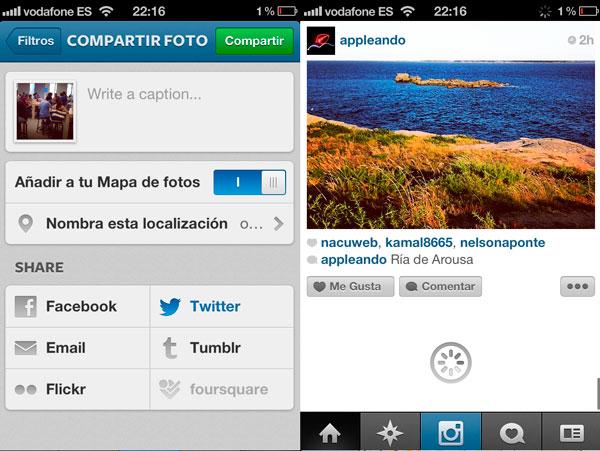 Nueva ventana subida de fotos Instagram