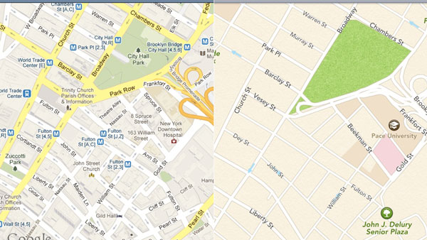 Apple Maps contra Google Maps