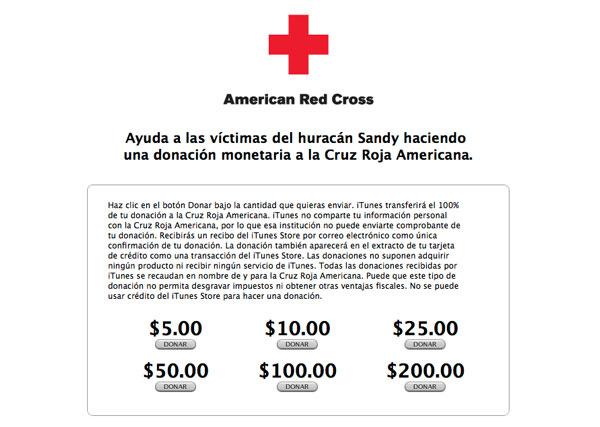 Donaciones Cruz Roja iTunes