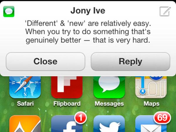 Concepto de Notificación de iOS tira con respuestas