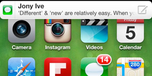 Concepto de Notificación de iOS tira