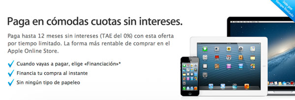 Financiación sin intereses en la Apple Store Online