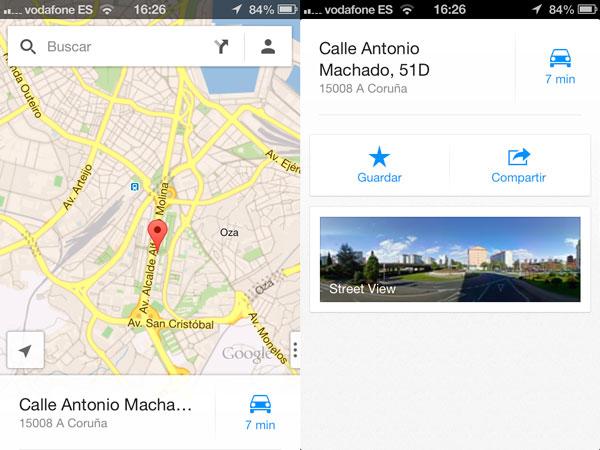 Acceder a Street View en Google Maps para iOS utilizando marcadores