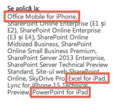 Referencias a Office para iOS