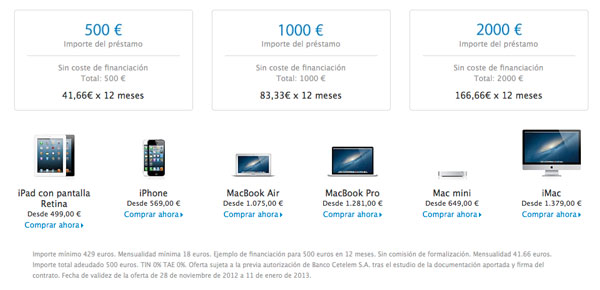Opciones de financiación sin intereses Apple Store Online