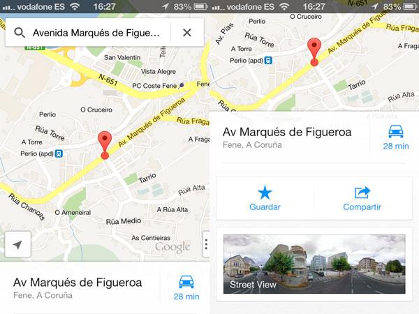 Acceder a Street View en Google Maps para iOS utilizando el buscador