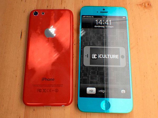 Concepto de iPhone barato en colores rojo y Azul